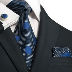 Blue Polka Dot Necktie Set JPM623 – Toramon Necktie Company