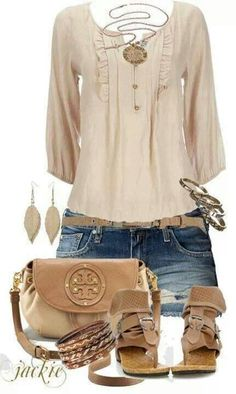 This casual outfit is perfect for a nice warm day at the park! The beige half sleeve and earth tones in this outfit will give you a beautiful natural look to your day! Summer Shorts Outfits, Komplette Outfits, Short Outfits, Spring Outfits, Casual Outfits, Fashion Outfits, Casual Shorts, Summer Dresses, Style Work