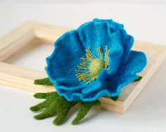 Felted Flower Brooch Turquoise Poppy / Flower Brooches Pins / Handmade Felt Jewelry / Blue Poppy Brooches