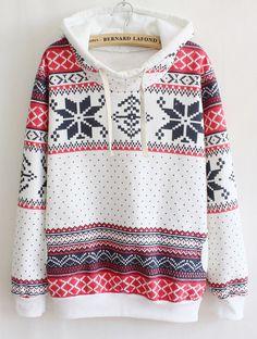 White Long Sleeve Snowflake Hooded Tribal Sweatshirt