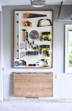 Garage Organization - DIY Pegboard Tool Organizer & Folding Workbench - with barn board for a rustic feel