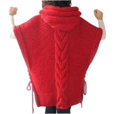 This poncho is hand knit with cable knit pattern. It is made with alpaca yarn. It has a hood. You can wear it on your tops or on coats. Its very warm and cozy.   Any question, just convo.   -----------------Made in a pet-free and smoke-free environment.-----------------  -----------------All hand crocheted and hand knit items should be hand washed in luke warm water with mild detergent and laid flat to dry
