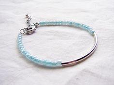 Beaded Bar Bracelet. Light Turquoise Blue Japanese Seed Beads with Silver Plated Bar. Dainty Bracelet. $15.00, via Etsy.