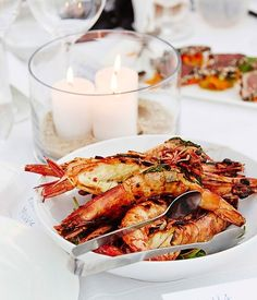 Australian Gourmet Traveller recipe for barbecued split prawns with chervil butter. Bbq Prawns, Grilled Prawns, Grilled Seafood, Fish And Seafood, Prawn Recipes, Seafood Recipes, Cooking Recipes, Healthy Recipes, Savoury Recipes