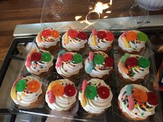 100 th day cupcakes using Harris Teeter cup cakes with a gummy worm and 2 gummy life savers!