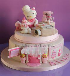 Hello kitty Bakery - cake by Luciana Amerilde Di Pierro Hello Kitty Torte, Torta Hello Kitty, Hello Kitty Birthday, Pretty Cakes, Cute Cakes, Fondant Cakes, Cupcake Cakes, Torta Angel, Gateaux Cake