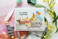Waffle Flower April Release Blog Hop – laurafadora Puppy Birthday, Glitter Cardstock, White Glitter, Gift Certificates, Distress Ink, Flower Cards, Party Hats, Waffles, Card Stock
