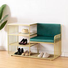 Entryway Furniture, Metal Furniture, Home Furniture, Ottoman Furniture, Hallway Storage Bench, Bench With Shoe Storage, Storage Benches, Modern Entryway, Modern Shelving