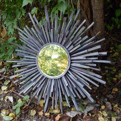 Indigo Grey MidCentury Wood Starburst Mirror READY by FallenWalnut