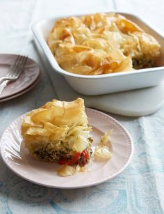 We usually associate the word 'pie' with a heap of stodge and a lazy feeling to follow.  I've never been a huge fan of pies, probably because of scoffing a dodgy one from a petrol station once. This delightful version from Cook Happy, Cook Healthy is much less heavy on the gut than your typical pie, and is full of flavour. Filo is a very light pastry so the main event really is the filling, stuffed with vitamins and protein from the veg and feta.
