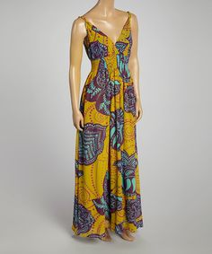 Look at this Aqua Abstract Surplice Maxi Dress on #zulily today!