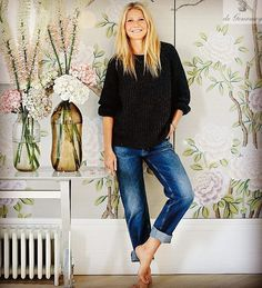 Gwyneth Paltrow at home with her de Gournay wallpaper