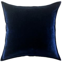 de Le Cuona Silk Velvet Cushion Cover backed With Natural Linen - Navy