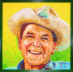 "Reagan Country by Roger Rocha Dimensions: 4 x 4 foot One of the most popular pieces of Jelly Belly Art, this portrait of President Ronald Reagan was inspired by his love for horseback riding at his California ranch. ""You can tell a lot about a fella's character by whether he picks out all of one color or just grabs a handful."" –Ronald Reagan on Jelly Belly jelly beans."
