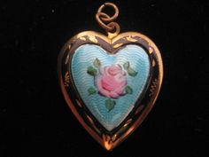 Guilloche Enamel Rose Heart Locket-Pendant p available from Vintage Jewelry Lounge.  http://www.rubylane.com/item/492448-VJL-549/Guilloche-Enamel-Rose-Heart-Locket