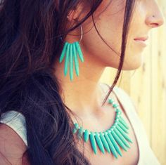 Rivet turquoise earrings and necklace set from fashionpenny