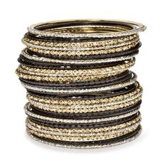 Bangles Black Gold Bangle Stack Bees An Extremely Sophisticated Choice The Contrast Of Black And Gold Makes This A Very Chic Stack