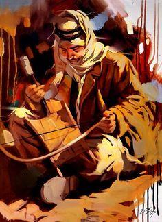 """الربابة """"آلة الفرح والحزن"""" ذات الوتر الواحد والأصول الشرقية القديمة التي انتقلت إلى العديد من مناطق العالم ، وارتبط اسمها بالبدو الرحل والأرياف. ......................  عازف الربابة /  بريشة الفنان العراقي المبدع علي نعمة .......................... ...ZEENARAQI ..... https://www.facebook.com/IraqiZeenaraqi?fref=ts"""