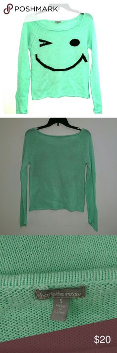 Charlotte Russe winky sweater Mint green, worn twice, wide neck..WILL NEGOTIATE ON BUNDLES, PLEASE MAKE A BUNDLE AND SUBMIT YOUR BEST OFFER.  😊 Charlotte Russe Sweaters Crew & Scoop Necks