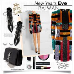NYE Party Style : Balmain by chocolate-addicted-angel on Polyvore featuring polyvore, fashion, style, Balmain, Yves Saint Laurent and Bobbi Brown Cosmetics