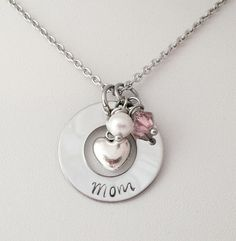 Personalized Hand Stamped Mom Mothers Day Keepsake Necklace with Heart Birthstone and Pearl