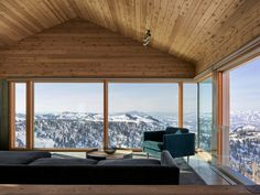 Instead of peering into the homes of neighbors, residents revel in nature. Tagged: Living Room and Chair. Photo 9 of 10 in These Cabins in a Utah Ski Resort Are Designed to Help Spark Social Change. Browse inspirational photos of modern living rooms. Utah Ski Resorts, Interior Exterior, Interior Design, Cedar Walls, Architect Design, Living Room Modern, Contemporary Architecture, House Architecture, Traditional House