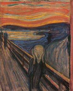 The Scream (1893) by Edvard Munch  - Oil and pastel on cardboard   - Featuring a ghoulish figure that looks like the host from Tales from the Crypt, the backdrop of this expressionist painting is said to be Oslo, Norway.