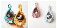 This Teardrop Basket Plant Hanger Crochet Pattern is a pretty way to add some color and greenery to your home. It is quick, and easy to make. Handmade Headbands, Handmade Crafts, Handmade Rugs, Knitting Patterns, Crochet Patterns, Hanging Plant Wall, Quick Crochet, Jewelry Hanger, Crochet Cushions