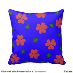 Pillow with heart flowers on Blue Background