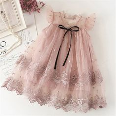 Girl Dress Kids Dresses For Girls Mesh Casual Lace Embroidery Princess Baby Girl. Girl Dress Kids Dresses For Girls Mesh Casual Lace Embroidery Princess Baby Girl Clothes Summer Sleeveless Dress Kids Clothes Girls Lace Dress, Cute Girl Dresses, Toddler Girl Dresses, Little Girl Dresses, Dress Lace, Gown Dress, Baby Girl Party Dresses, Lace Dress For Kids, Toddler Tutu Dress