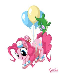 Pinkie Pie and Gummy in the Sky by *mysticalpha on deviantART