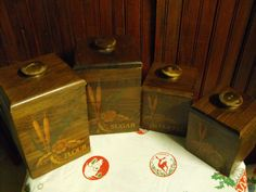 Vintage Cornwall Wood Products Canister Set of 4 by peacenluv72, $44.50