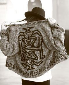 Tribal Print Slouchy Cardigan Sweater.