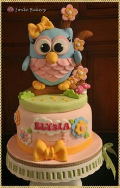 Cake Toppers For Boys Smile Bakery Fondant Owl Topper Birthday Party Girl Kids Kid Cakes Plus Tampa Fondant Cakes, Cupcake Cakes, Fruit Cakes, Owl Cake Toppers, Owl Cake Birthday, Owl Cakes, Ladybug Cakes, Cute Cakes, Cake Creations