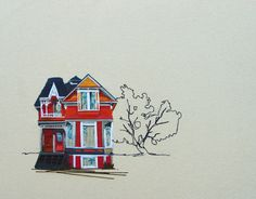Juxtapoz Magazine - Embroidered Architecture by Stephanie Clark Stephanie Clark, Illustration Art, Illustrations, Thread Painting, Inspiration Art, Crayon, Embroidery Art, Patch, Art And Architecture