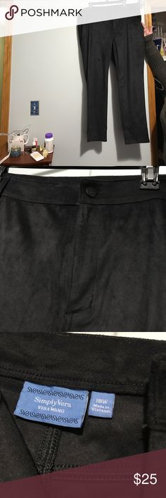 Vera Wang faux brushed suede pant Brand new without tags, never worn. Black  two back pockets, faux front pockets.  Straight leg. Elastic at waist ends, machine wash snd dry, stretchy Simply Vera Vera Wang Pants