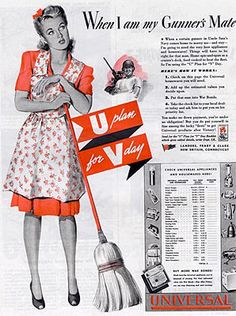 1940s housewives | Advertisement promoting the use of appliances and housewares in the ...