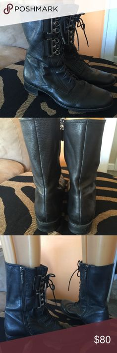 Calvin Klein tall leather boots Like new EUC nice metal hardware light scuffs gorgeous leather Calvin Klein Shoes Lace Up Boots