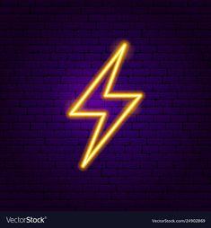 Lightning neon label Royalty Free Vector Image Ideias de fotos para instagram Placas de néon