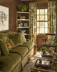 Gorgeous living room in shades of green and brown with lots of layers of texture and pattern in this home overlooking the Long Island Sound in Center Island, NY by prep-chic queen Meg Braff. Green Velvet Sofa, Green Sofa, My Living Room, Living Room Decor, Living Spaces, Style At Home, Estilo Colonial, French Country Living Room, Green Rooms