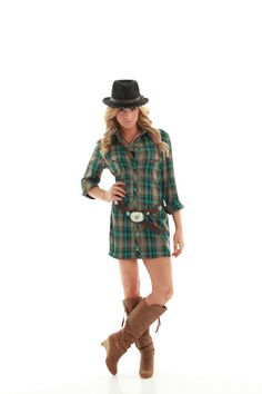 Woohoo! Watch out cowboys! We have created an undeniable, gorgeous look for the ladies. This plaid dress has sweet pearl buttons down the front and an attractive brown tie around the waist. Pair with your favorite boots or even flip flops. Flirty or casual, this is sure to be your new favorite dress! Cotton/Polyester. Dark green mixed with black and brown.