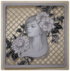 """Ariana by Audrey Kawasaki.  graphite and colored pencil on hand cut paper  12""""x12"""" Thinkspace Gallery """"In the Wake of Dreams"""" 2011"""
