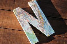 "Vintage Map Covered Letter - ""N"" - Home Decor, Florida Map, 3 Dimensional"