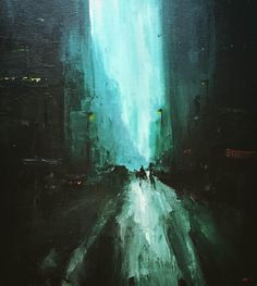 City Streets (inspired by jeremy mann), Acrylic with palette knife, 16x20 : Art