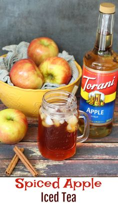 Spiced Apple Iced Tea is easy to make and the perfect flavor for fall...even when the weather isn't quite cool enough for hot beverages!  AD #AToraniMorning
