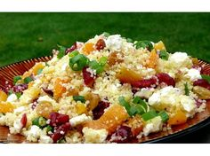 Couscous with Dried Fruit & Feta.this dish is so easy to make and presents so beautifully with the red cranberries and green sliced onion. The feta cheese is awesome in the recipe.a fabulous side for any meal and delicious to boot! Couscous Recipes, Couscous Salad, Feta Salad, Salad Recipes, Clean Eating, Healthy Eating, Salsa, Veggie Side Dishes, Cooking Recipes