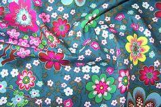J.Swafing Albella Baumwoll Popeline Stoff Blumen Blüten Zweige petrol farbenmix