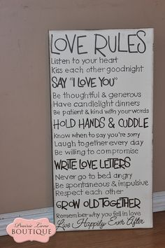 """#FamRules09 Love Rules, 12"""" x 24"""" Antique White, Canvas Wall art by PrairieLaneBoutique.com for"""