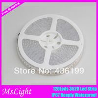 Promotion ! IP67 waterproof flexible LED ribbon tape Lights 120 Leds/M 3528 SMD Warm white / White/Blue/Green/Yellow 5Meter/Lot