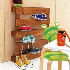 Love it!  Shoe Rack from recovered pallets
